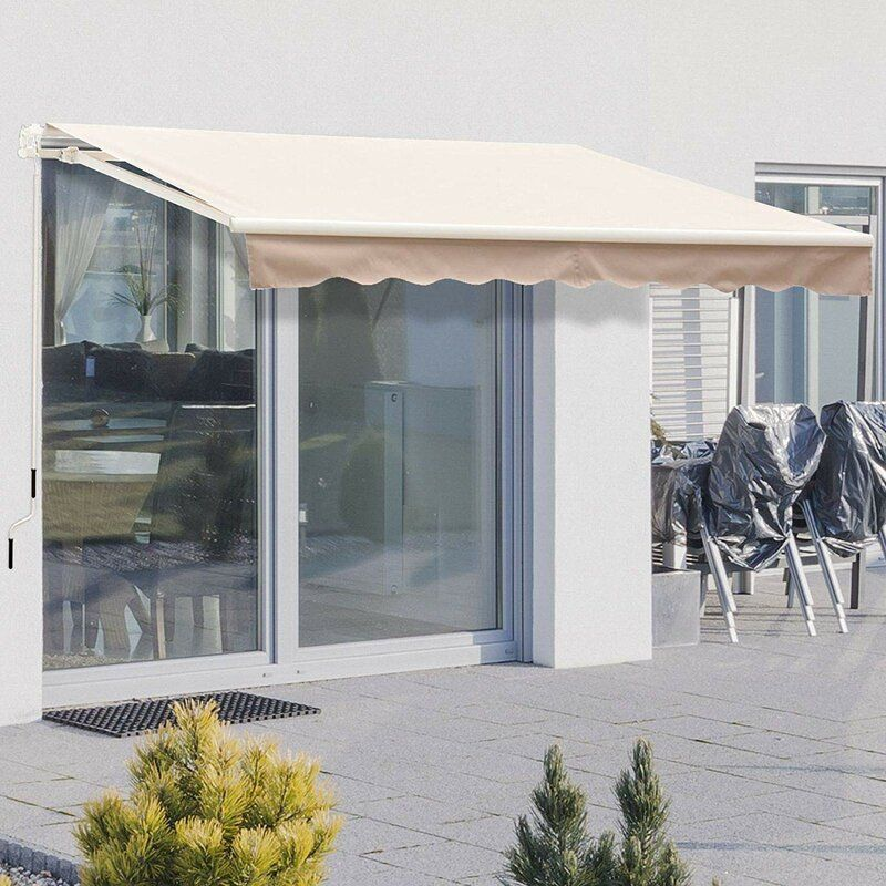 8 Ft W X 7 Ft D Fabric Retractable Standard Patio Awning In 2020 Patio Awning Awning Canopy Patio Canopy