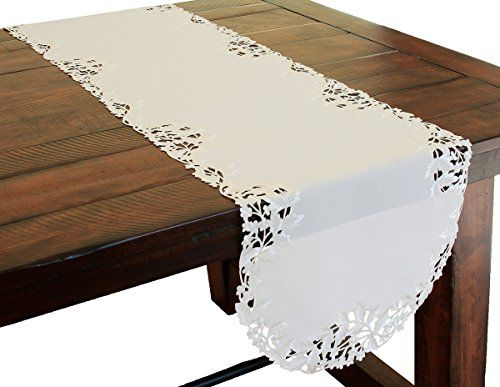 Xia Home Fashions Arietta Embroidered Cutwork Spring Table Runner 15 by 72Inch White * Click image for more details.