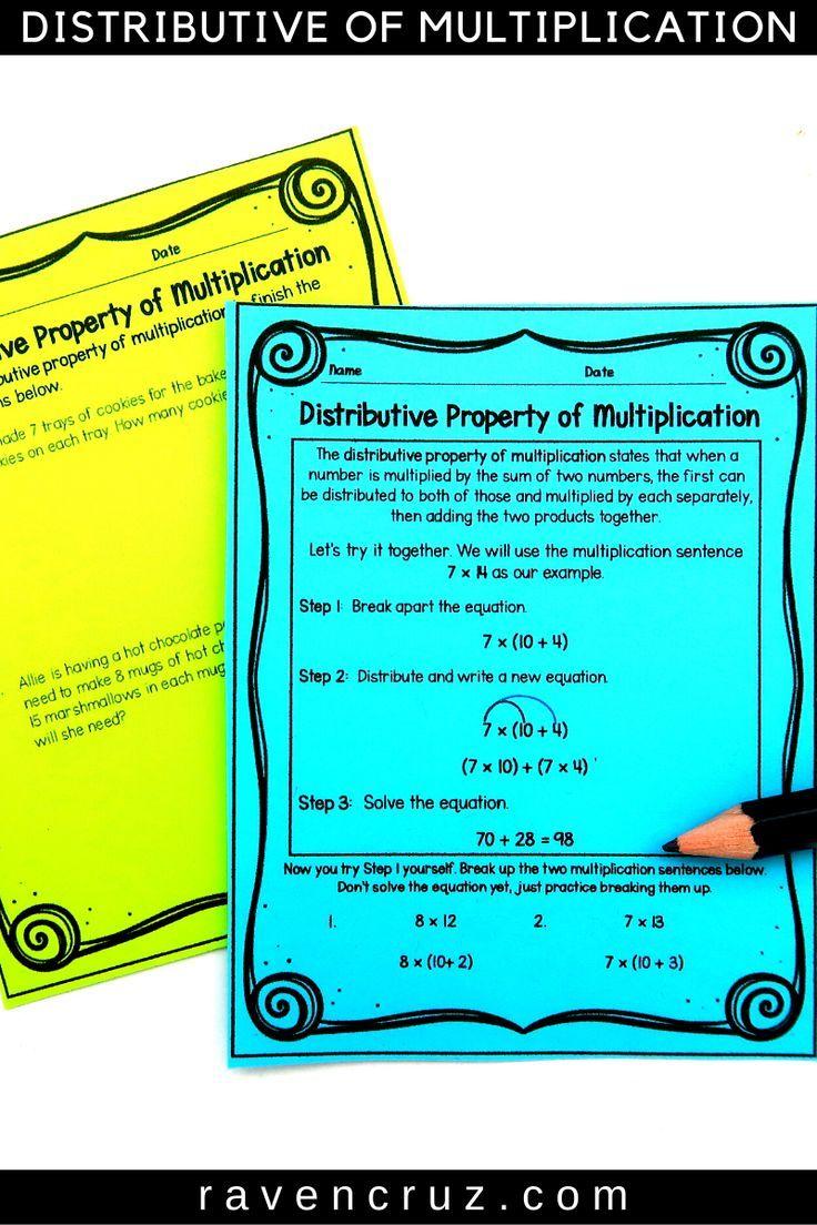 Distributive Property of Multiplication Worksheets 3rd