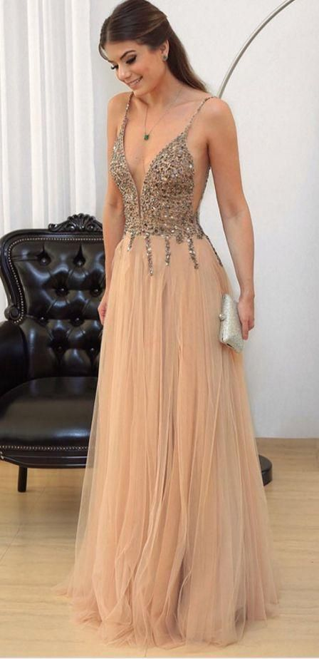 9abfd4f4ca0d4c A-Line Deep V-Neck Floor-Length Tulle Prom Dress with Beading M0746 ...
