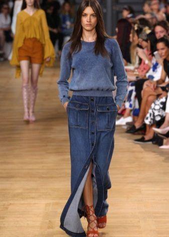 С чем носить длинную джинсовую юбку? | Длинная джинсовая ...