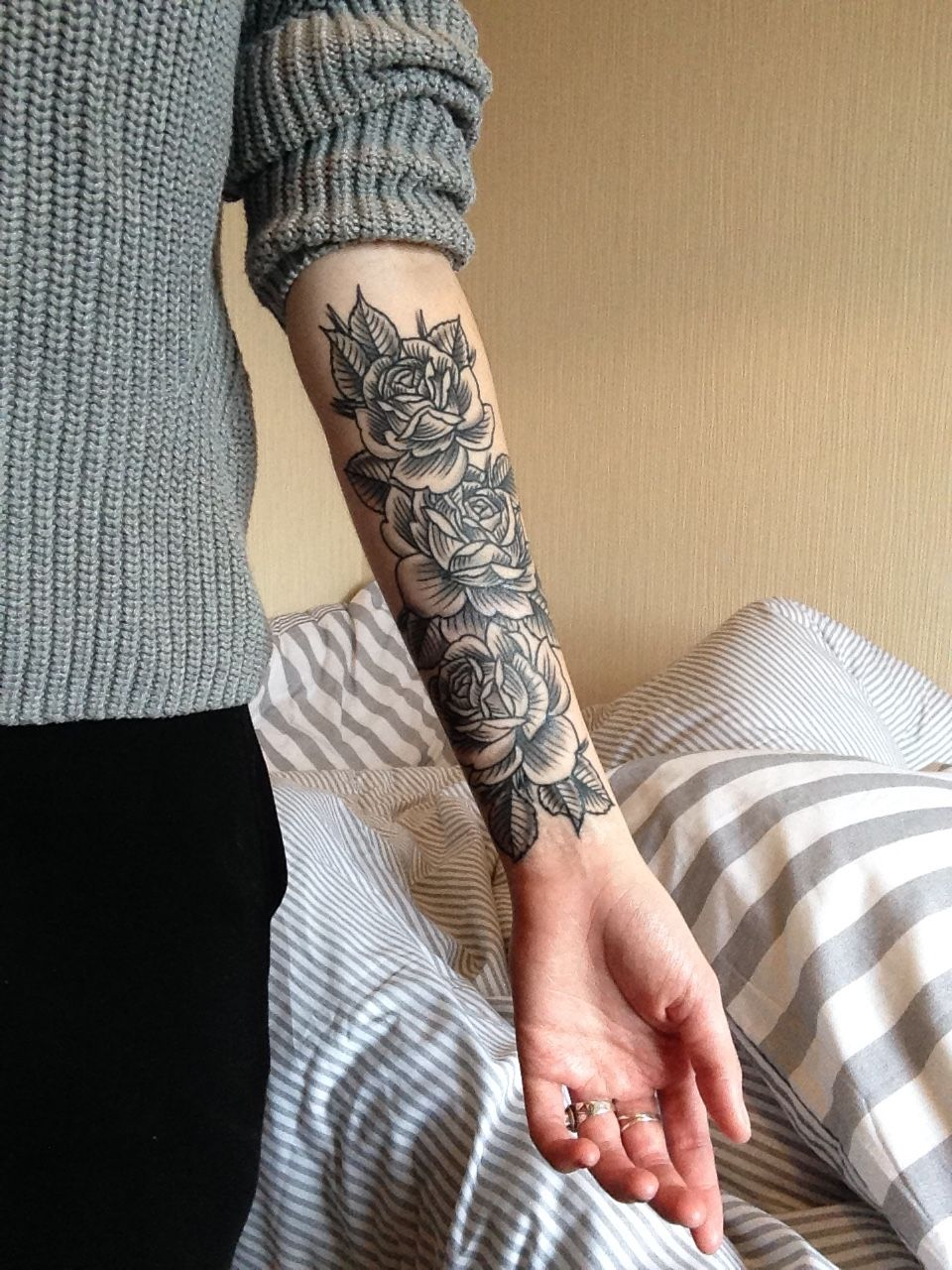 Clock forearm black rose sleeve tattoo - 27 Inspiring Rose Tattoos Designs