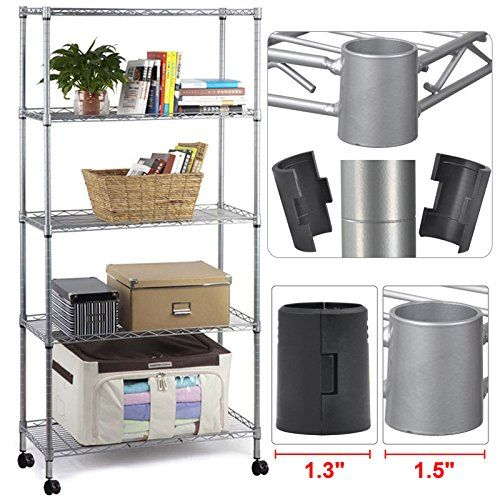 Yaheetech 5 Tier Metal Wire Rolling Shelf Storage Kitchen Garage Organizer Shelving Rack Yaheetech http://www.amazon.com/dp/B00VWGKQ3W/ref=cm_sw_r_pi_dp_DXqxvb1WAXV7Z