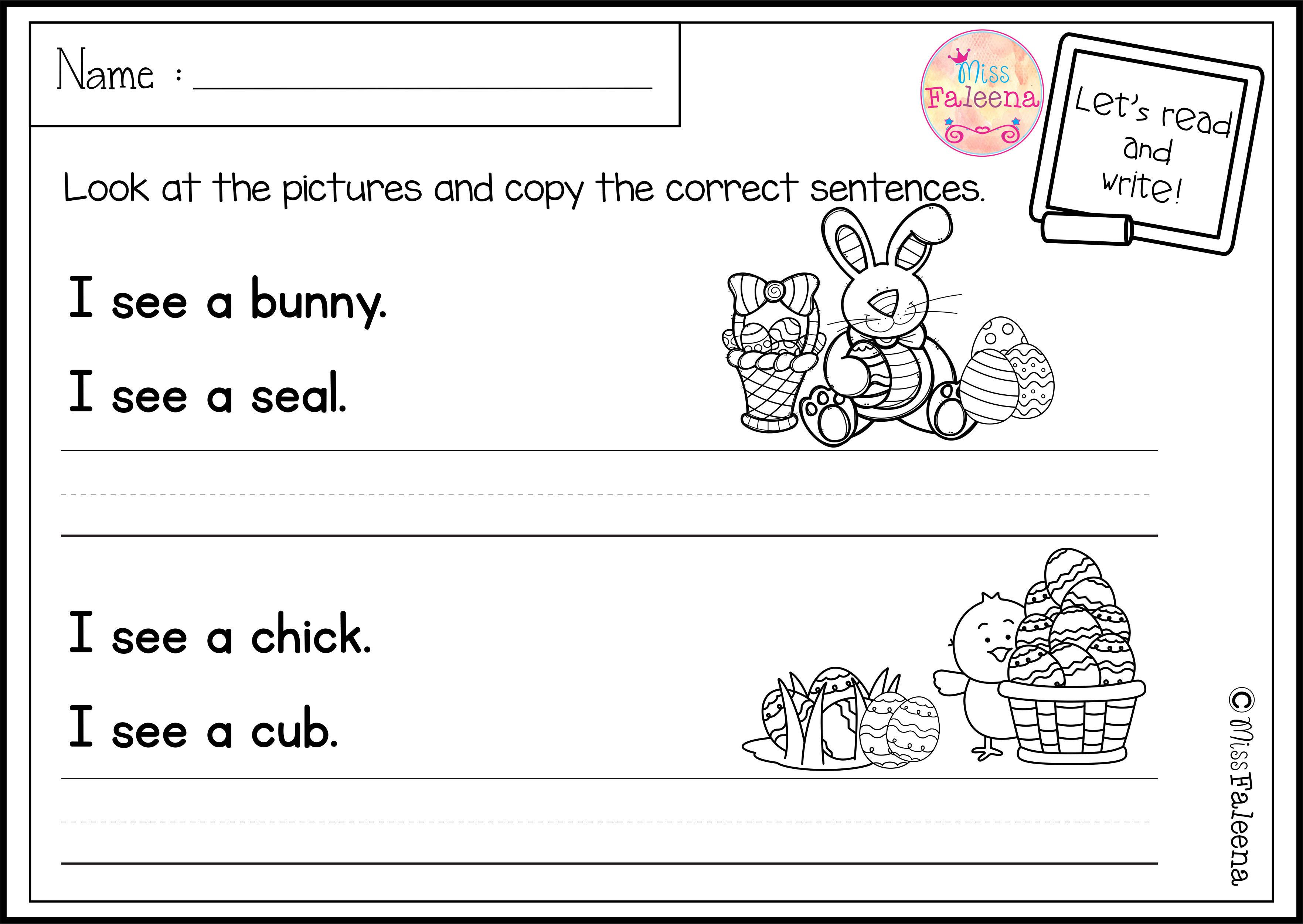 April Sentence Writing With Images