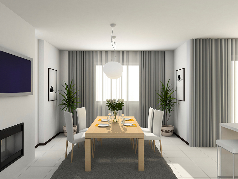 Tende soggiorno moderne grigio perla
