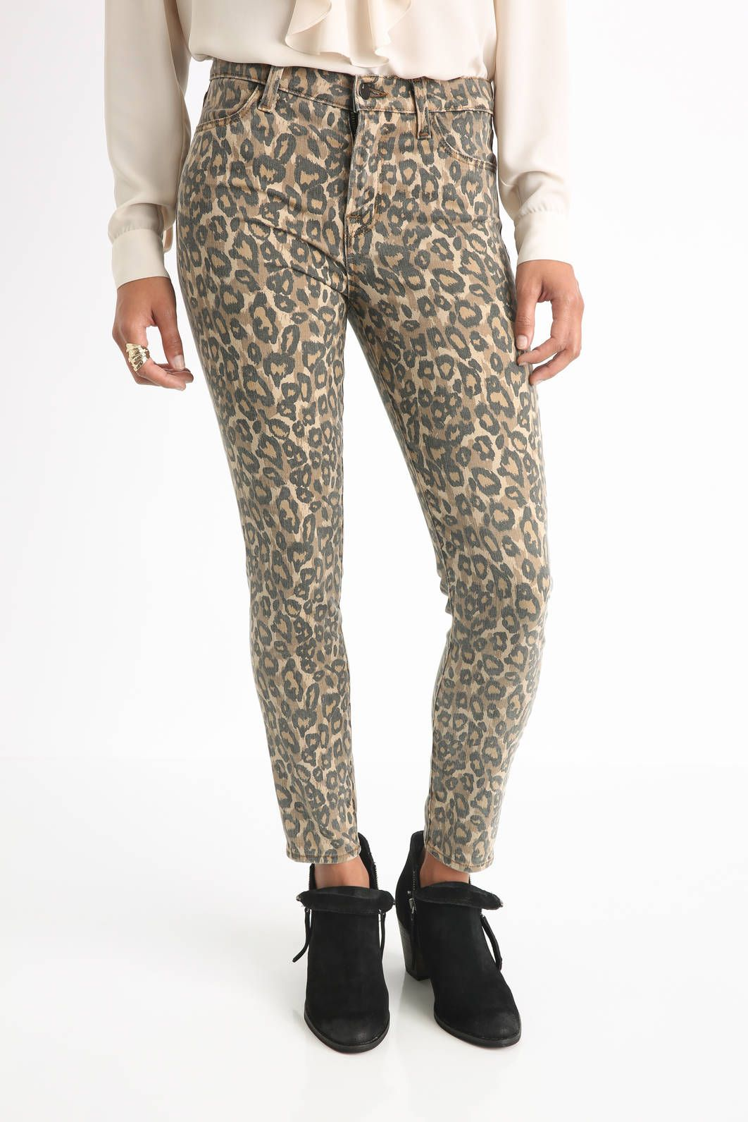 J Brand Jeans Alana in Golden Leopard Print Skinny Jeans | South Moon Under