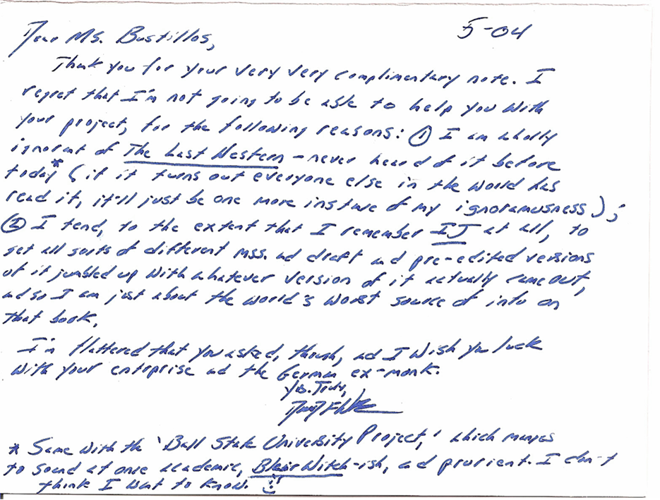 David Foster Wallace Searches For >> David Foster Wallace Letter Dfw David Foster Wallace The