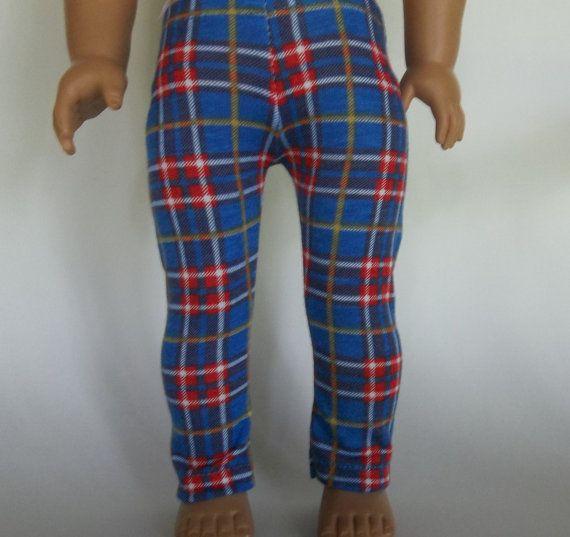 Leggings 18 in doll AG doll clothes Red Blue by GoodGollyMsDolly