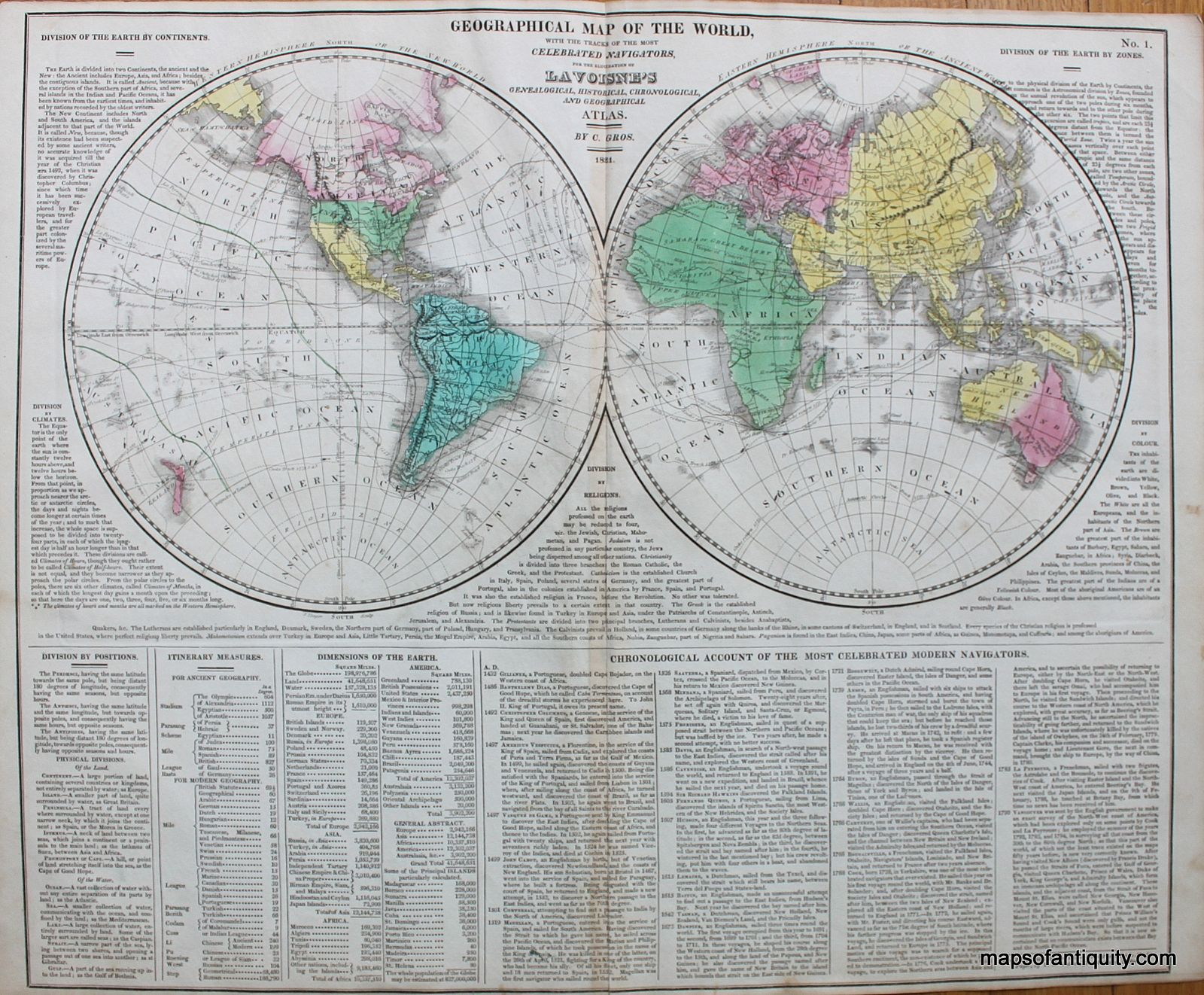 geographical map of the world 1821 25000 httpwww