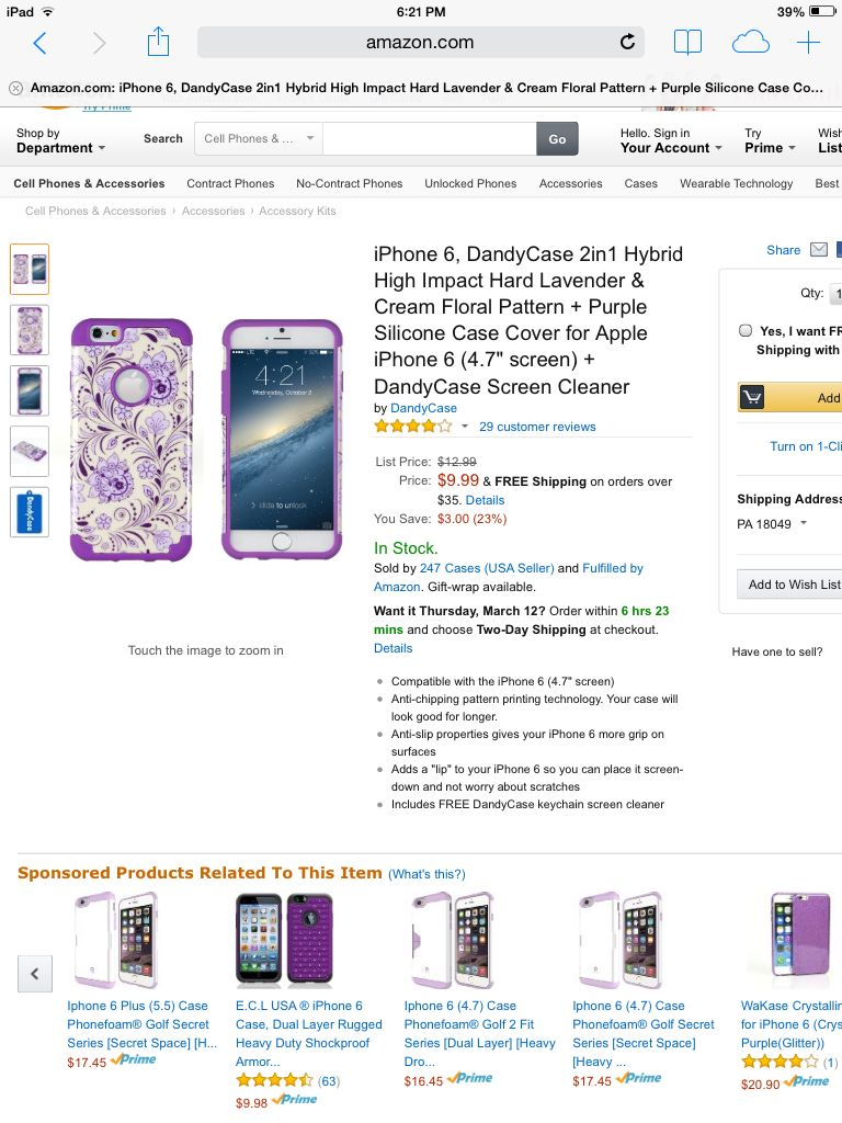 Pretty purple floral iphone 6 case