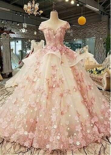 Pink Floral Ball Gown Ball Dresses Bridal Ball Gown Princess Wedding Dresses