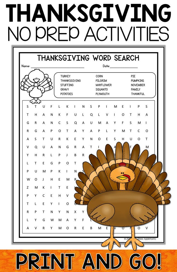 Thanksgiving Activities, Crafts, and Word Search | Klasse