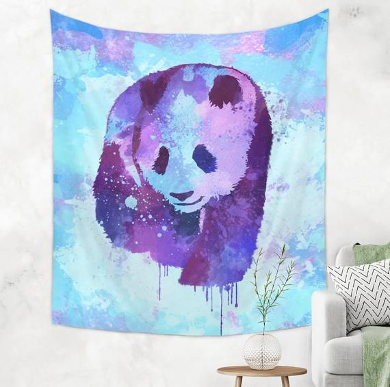 Panda Watercolor Tapestry Watercolor Panda Wall Hanging Blue