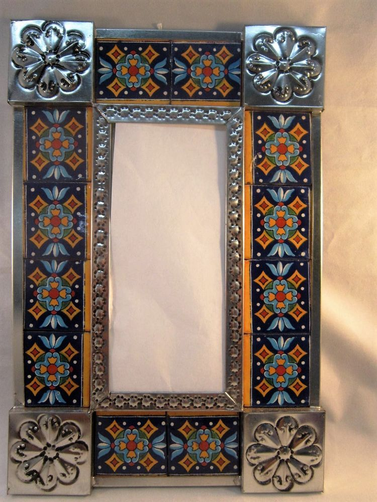 D Tile And Tin Frame Mirror Crafted In Mexico 67 CVT Mirror Crafts Mexican Folk Art Frame