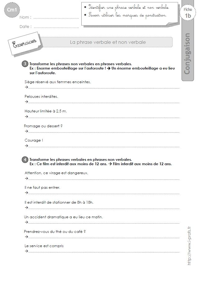 Cm1 Grammaire Fiches I Profs Exercice Cm1 Exercice Cm1 A Imprimer Exercices Imparfait