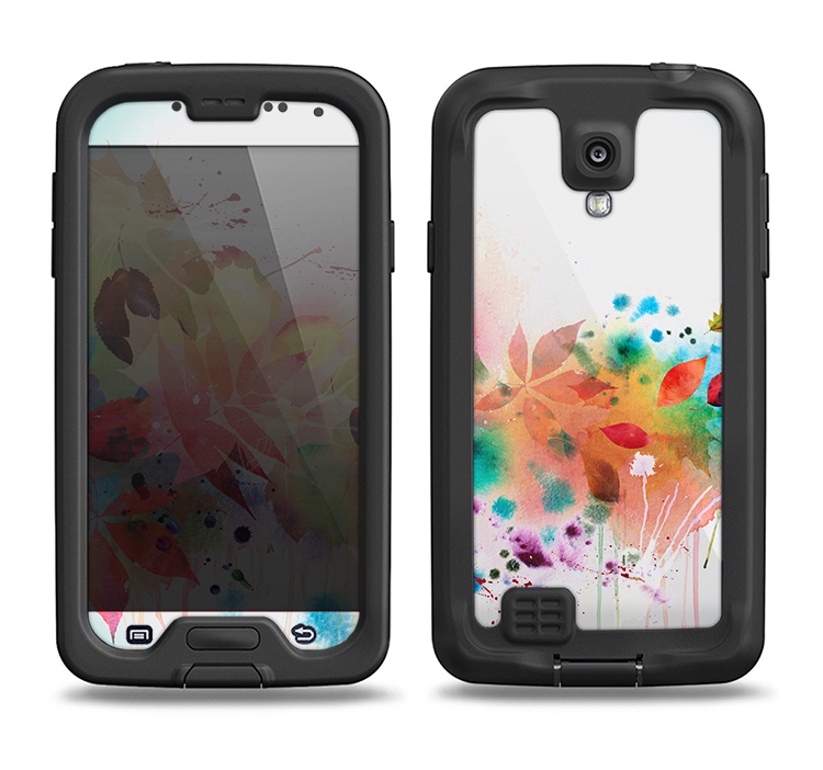 The Neon Colored Watercolor Branch Samsung Galaxy S4 LifeProof Nuud Case Skin Set