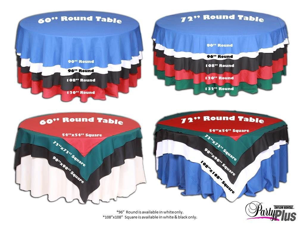 What Length Table Cloth And Or Overlay. We Have 60 Inch Tables. I Can Make  90 Inch Rounds From My Current Tablecloths. This Linen Size Chart Is  Helpful When ...