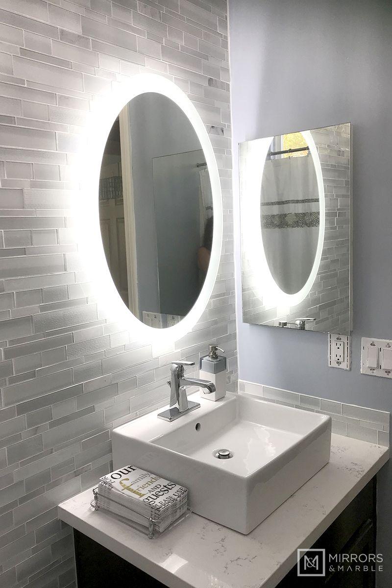 Side Lighted Led Bathroom Vanity Mirror 24 Wide X 32 Tall