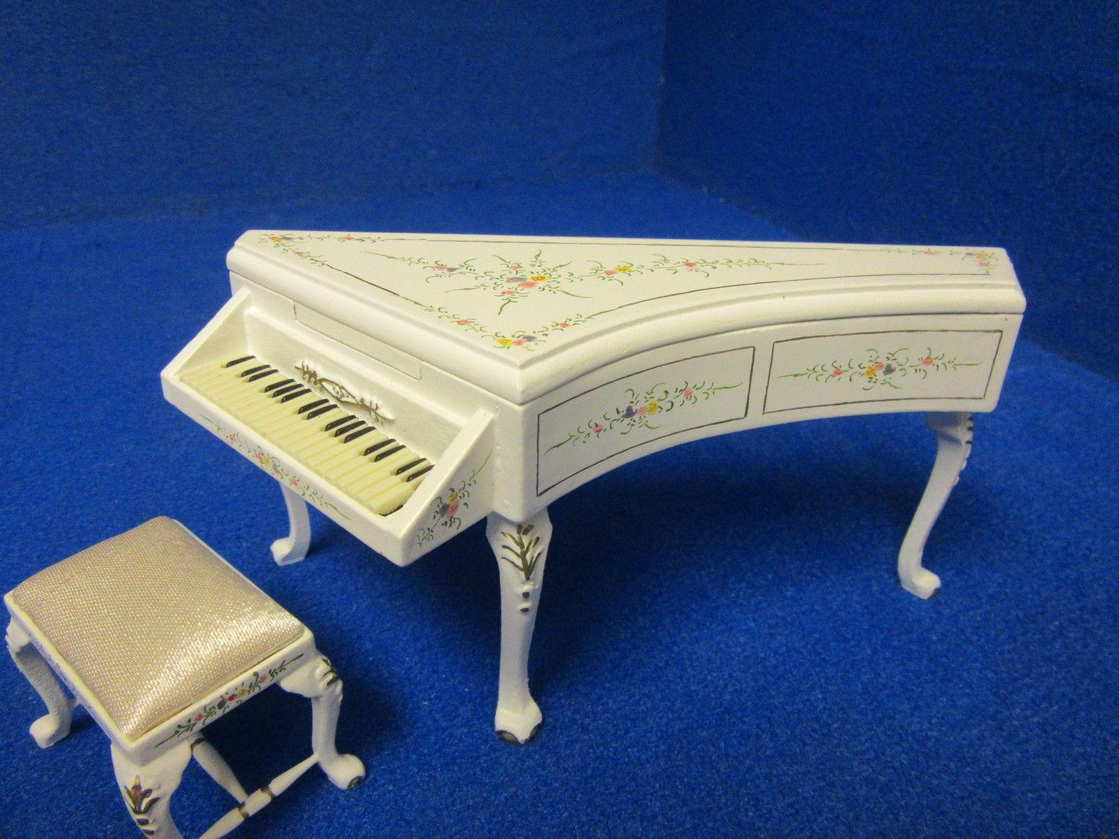 Quality 12th Dolls House Furniture Harpsichord And Stool JiaYi 046 01 2