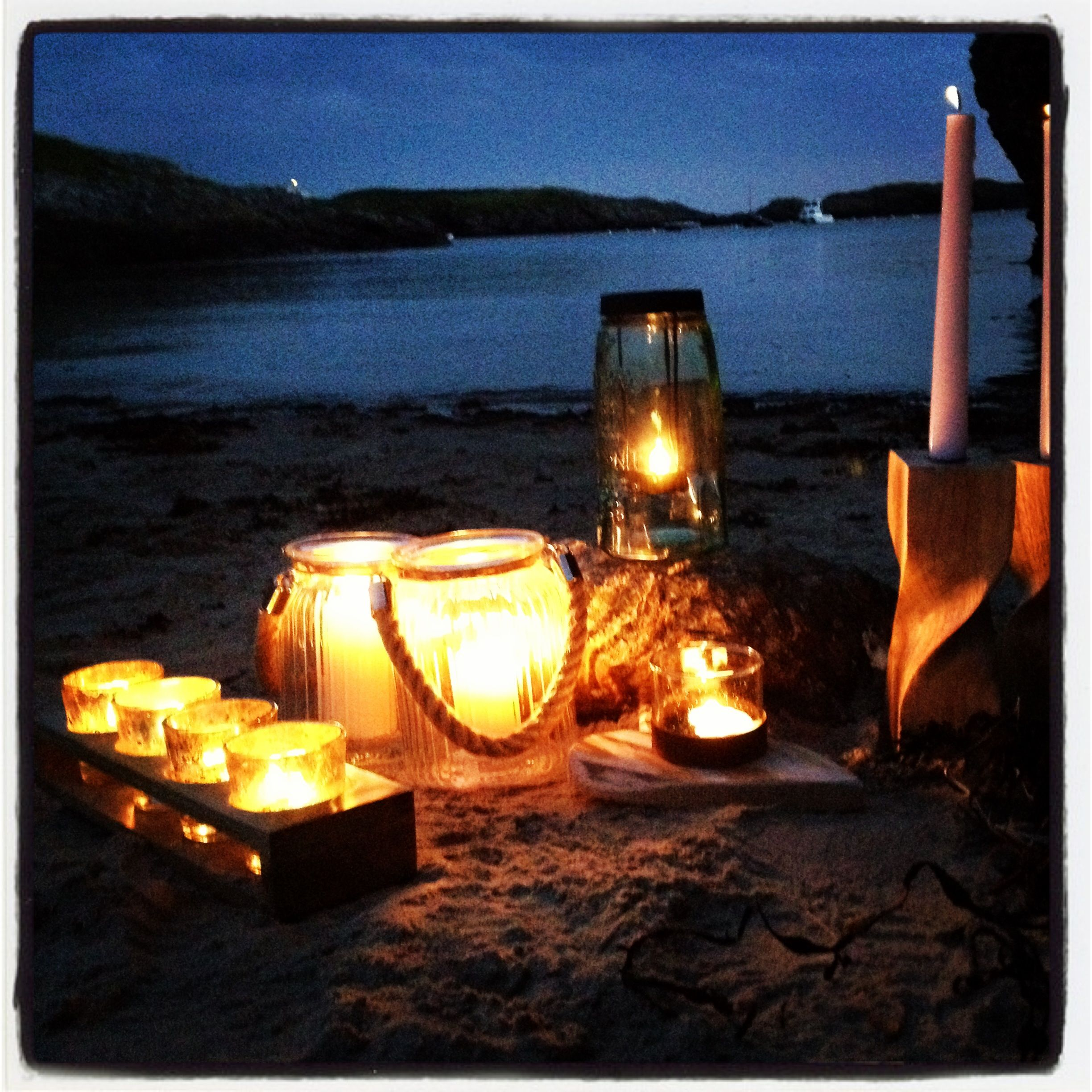 Long summer evenings on an Anglesey Beach. Tea lights by www.blueskybeachhut.com