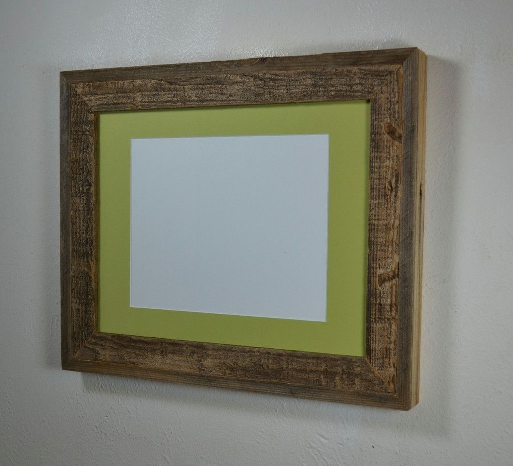 Rustic gallery style 11x14 wood picture frame with mat for 8x10 ...