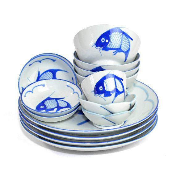 Koi Fish Dinnerware Collection (15 Pieces) - Cobalt Blue Glaze on Porcelain Hand Painted - Dinner Plates Bowls Dishes - Vintage Kitchen  sc 1 st  Pinterest & Koi Fish Dinnerware Collection (15 Pieces) - Cobalt Blue Glaze on ...