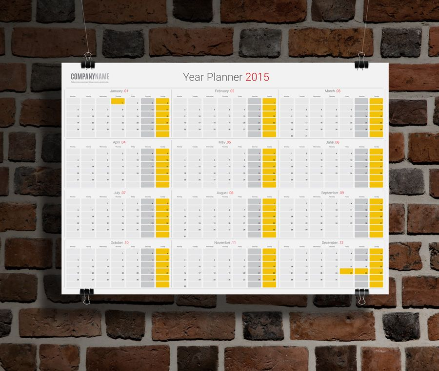 Planner 2015 Template Kpw11 Yearly Wall Planner Calendar 2015