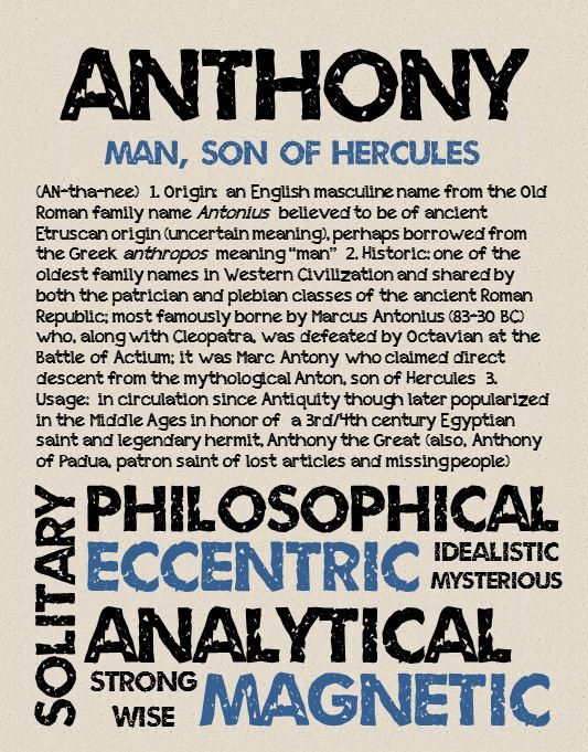 ANTHONY Personalized Name Print / Typography Print by ...