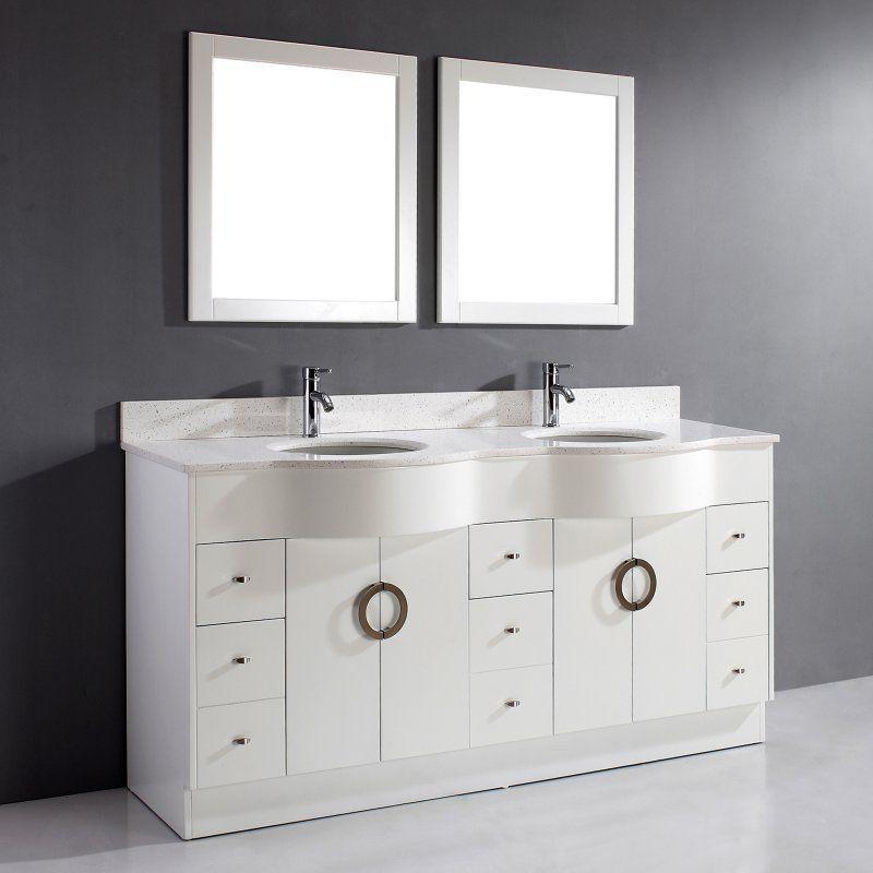 Bauhaus Bath Zed 72 in Double Bathroom Vanity Set with Mirrors - badezimmer bauhaus