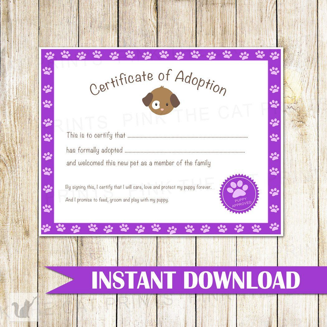 Certificate Of Adoption Puppy Birthday Party Purple Pink The Cat