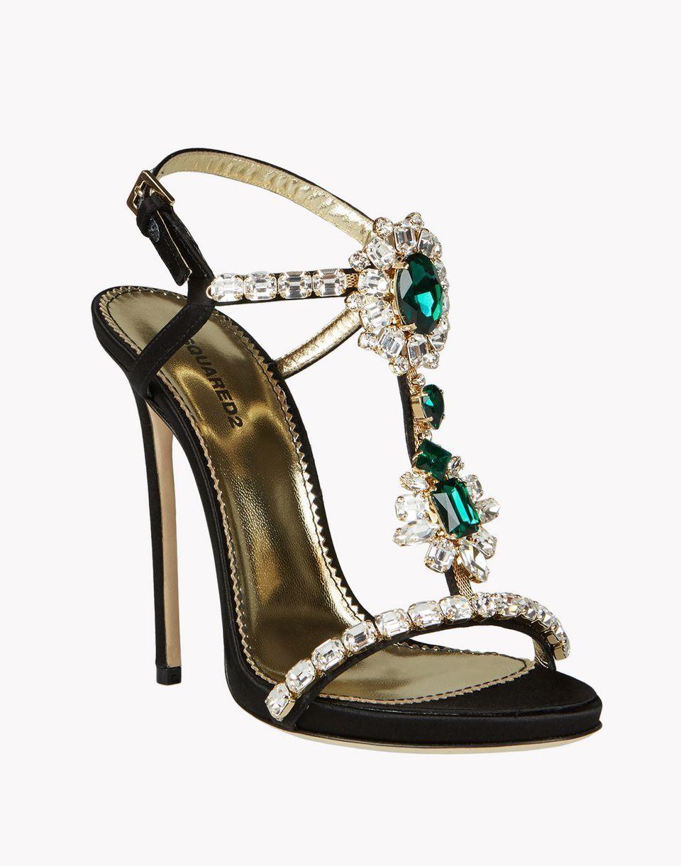 97e5ddad7602 DSQUARED2 D2 Woman Black Satin QUEEN MARY Sandals Shoes 39it US 8.5  Rhinestones