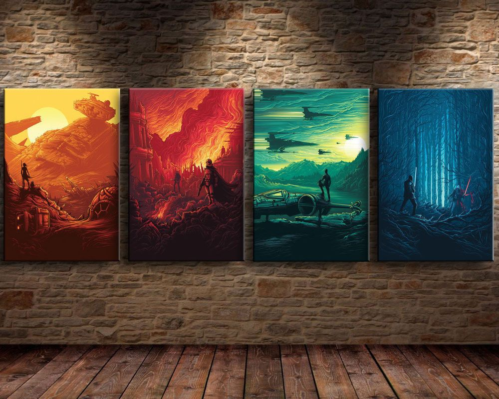 Superb HD Print Oil Painting Wall Art Canvas,Star Wars The Force Awakens 4pc No  Frame