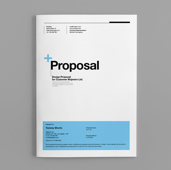 Proposal Template Suisse Design with Invoice by Egotype, via - proposal cover sheet template