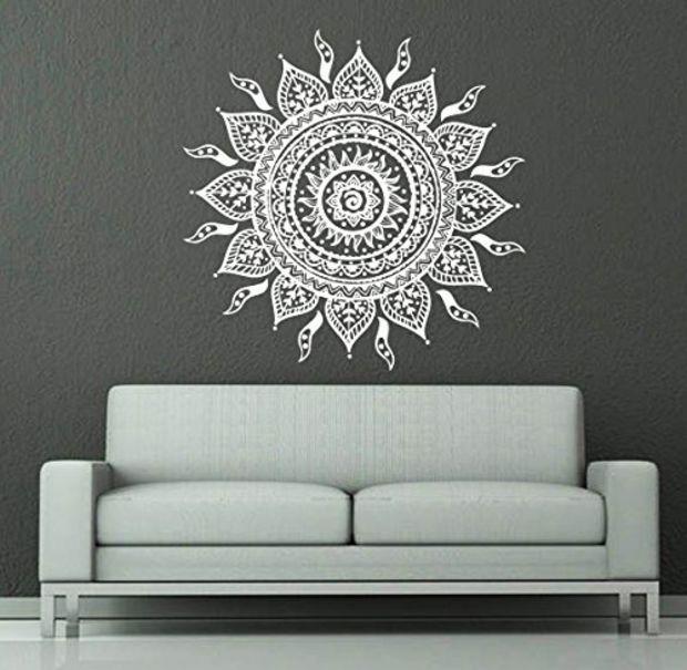 Wall decals mandala ornament indian geometric moroccan for Raumgestaltung yoga