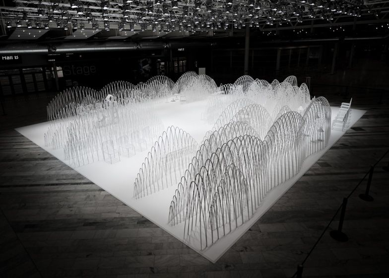 80 Sheets of Mountains installation by Nendo in Stockholm