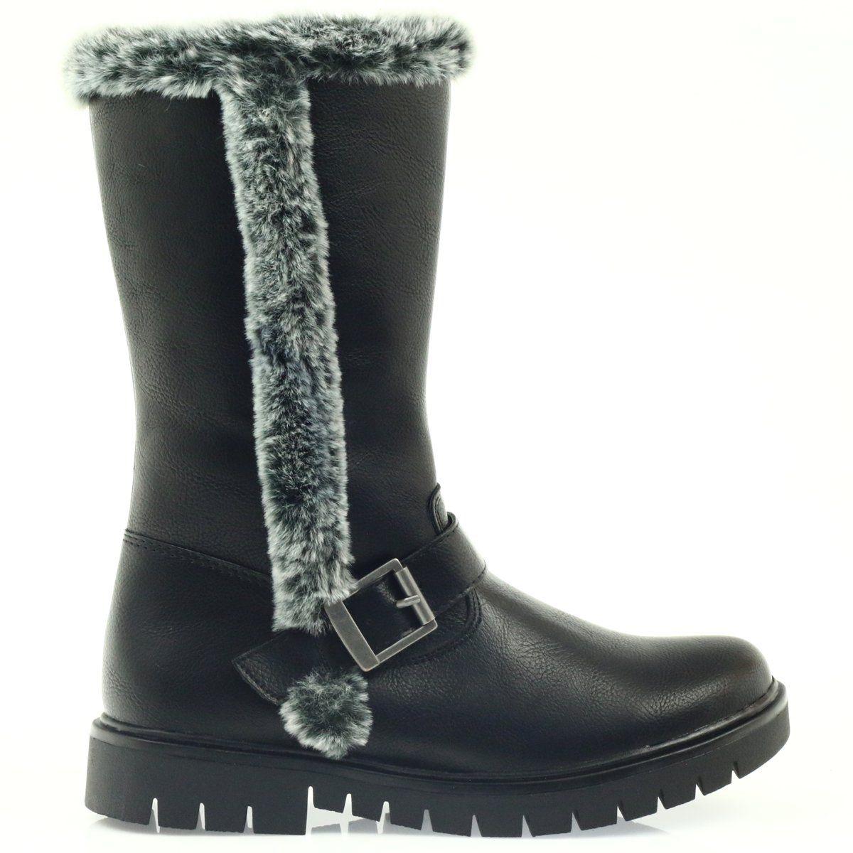 American Club Dlugie Kozaczki Z Futerkiem Czarne Biker Boot Boots Shoes