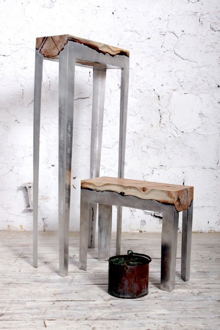 Wood Casting: Rugged Furniture Made By Melding Wood And Metal Together |  Jeannie Huang