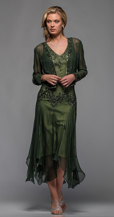 f48215e1cac9 This jacket and tea length dress outfit will steal you away with its  intricate beading patterns