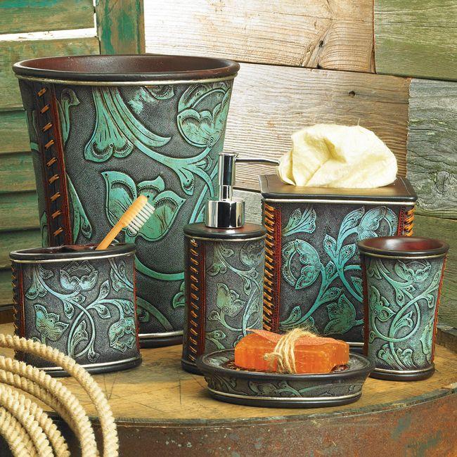 Httpwwwblackforestdecorcomfloraltooledturquoisebath - Floral bathroom accessories set for bathroom decor ideas