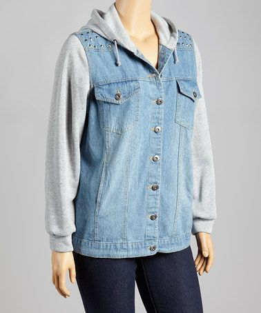 Another great find on #zulily! Denim Layered Hoodie - Plus by Last Kiss #zulilyfinds