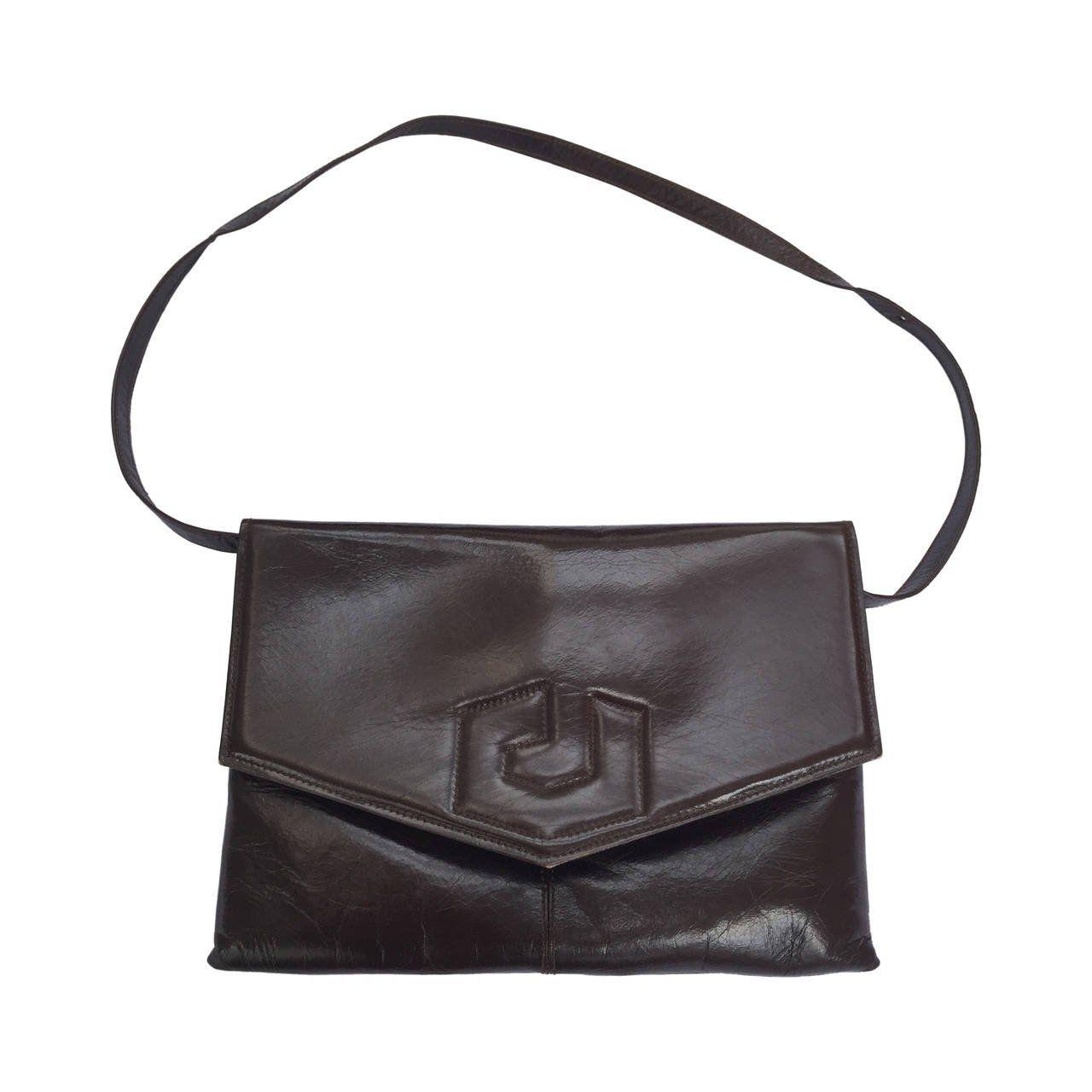 Charles Jourdan 70s Brown Leather Shoulder / Clutch Handbag a4y0ViKD5