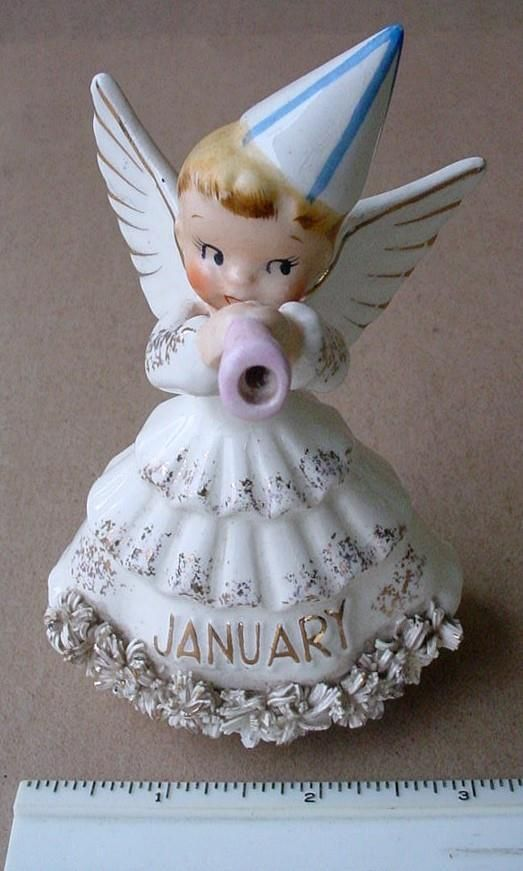 JANUARY BIRTHDAY ANGEL,NEW YEAR'S DAY PARTY HAT - BLOWING ...