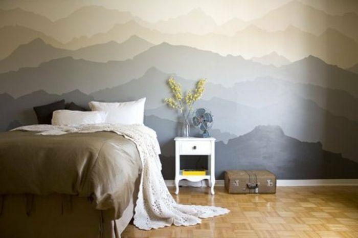 Wandgestaltung Ideen Berge Diy Wanddekoration Neutrale Farbtöne Schlafzimmer