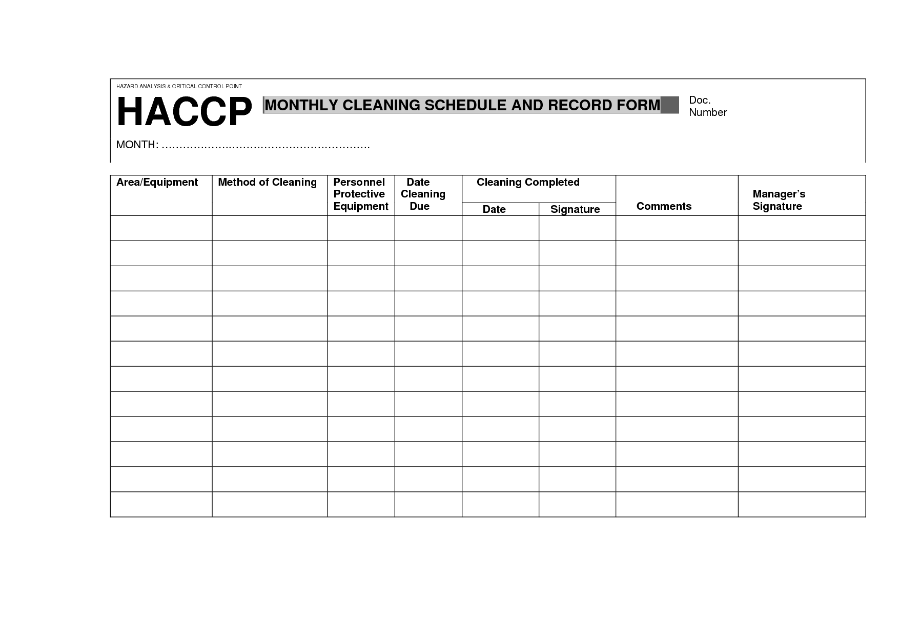 Haccp Cleaning Schedule And Record Form In