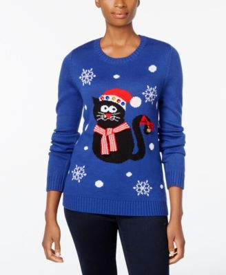 Macys Christmas Sweaters.Karen Scott Petite Cat Christmas Sweater Only At Macy S