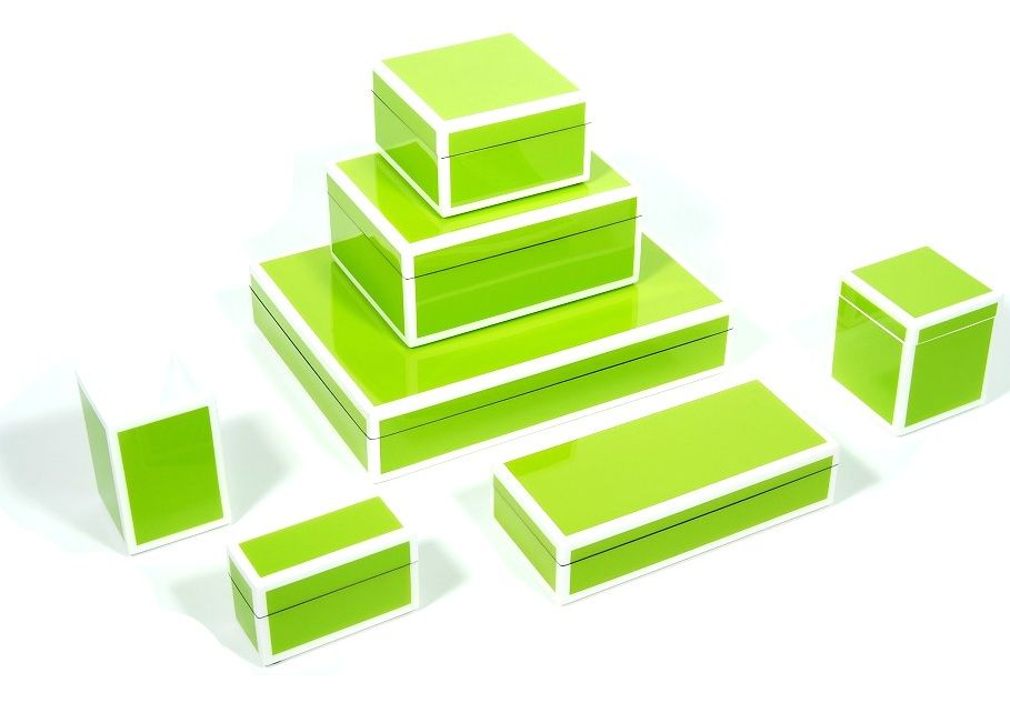 Green Lacquer Boxes Inspiring Hollywood Interior Design Accents, Courtesy of InStyle-Decor.com Beverly Hills