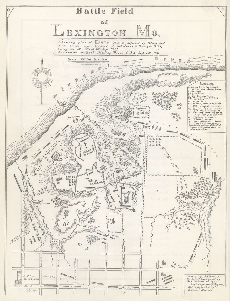 Battle of Lexington Map | Civil War 1861 - 1865 | Mexican