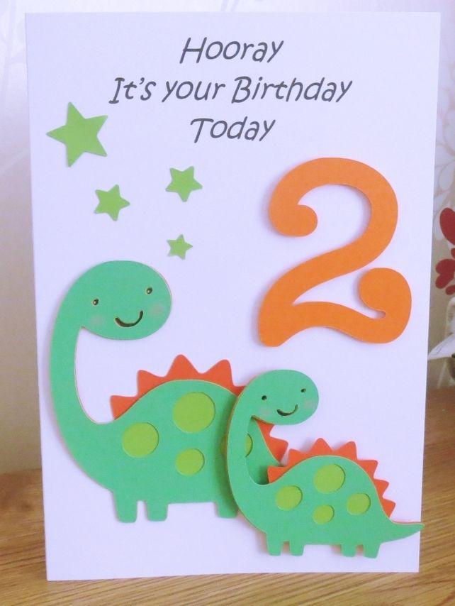 Dinosaur 2nd Birthday Card Handmade Birthday Cards Card Making Birthday Kids Birthday Cards