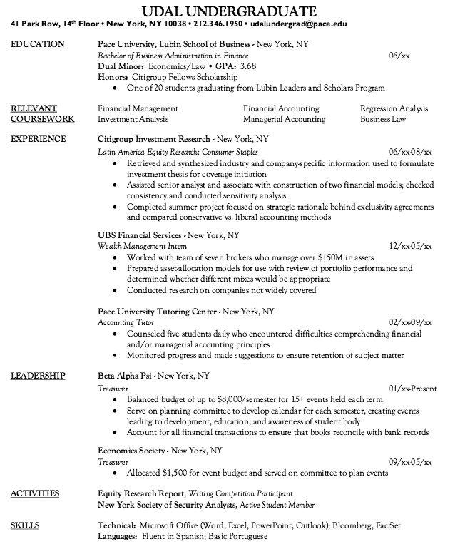 Wealth Management Intern Resume Sample - http://resumesdesign.com ...