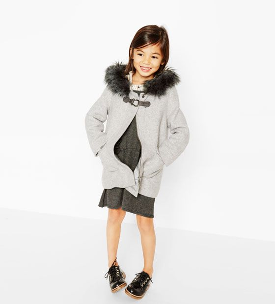 ZARA - KIDS - Duffle coat with faux fur hood